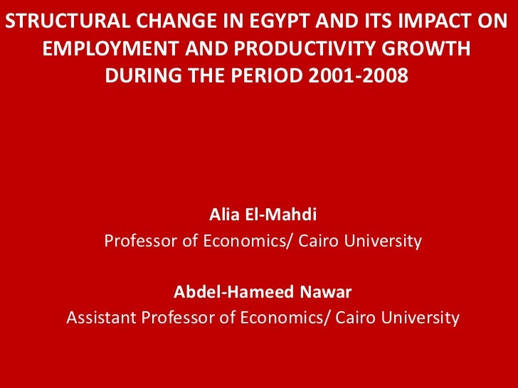 STRUCTURAL CHANGE IN EGYPT AND ITS IMPACT ON   EMPLOYMENT AND PRODUCTIVITY GROWTH        DURING THE PERIOD 2001-2008      ...