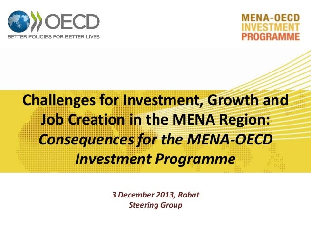 Challenges for Investment, Growth and Job Creation in the MENA Region: Consequences for the MENA-OECD Investment Programme...