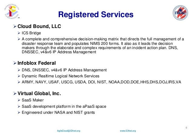 AgileCloud@ICHnet.org www.ICHnet.org ™ 6 Registered Services Cloud Bound, LLC  ICS Bridge  A complete and comprehensive...