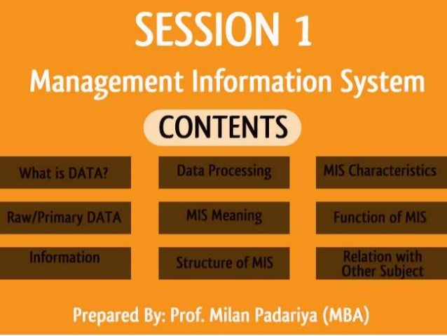 Session 1 introduction of management information system