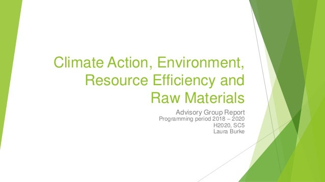 Climate Action, Environment, Resource Efficiency and Raw Materials Advisory Group Report Programming period 2018 – 2020 H2...