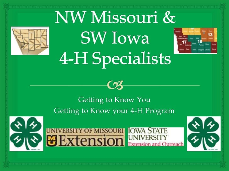 Getting to Know YouGetting to Know your 4-H Program