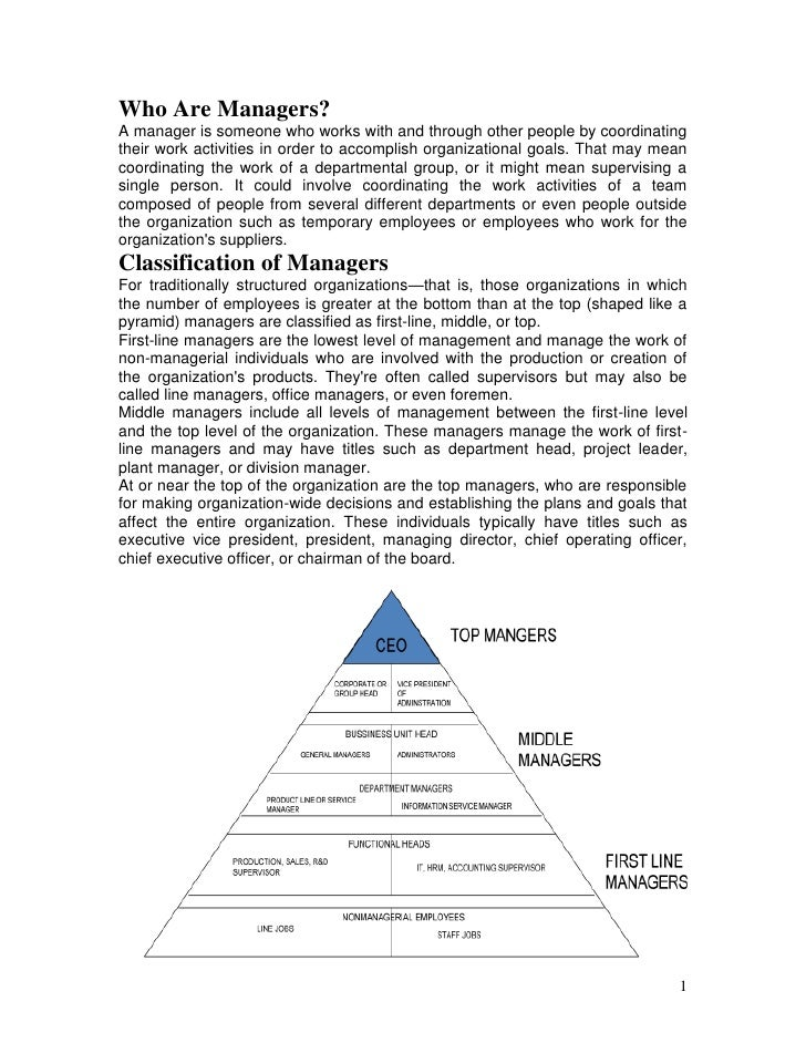 Who Are Managers?A manager is someone who works with and through other people by coordinatingtheir work activities in orde...