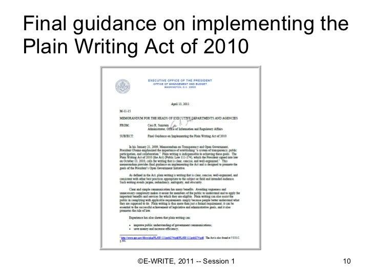 Plain language writing act of 2010