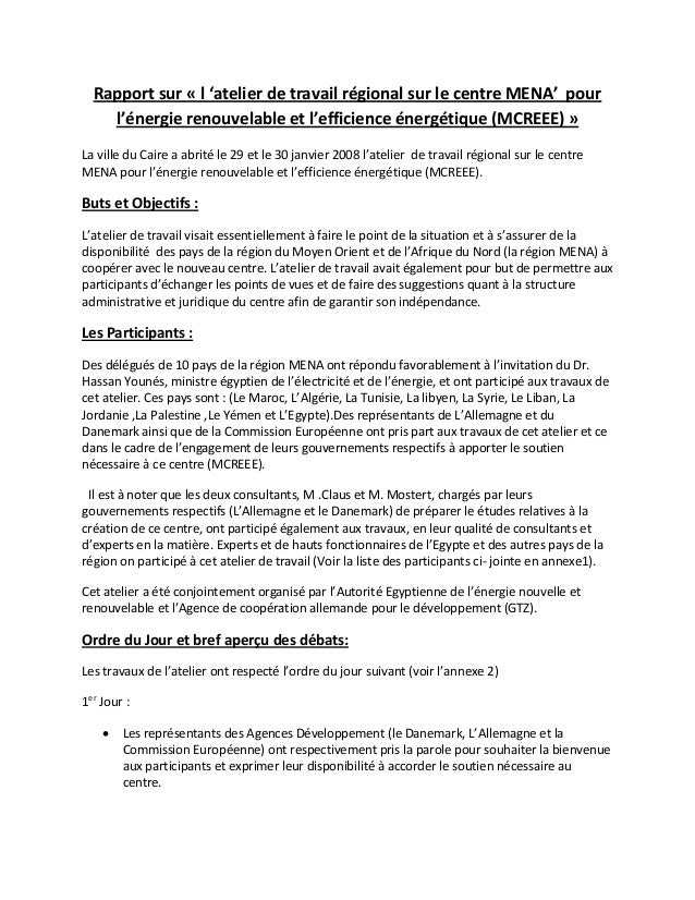 Rapportsur«l'atelierdetravailrégionalsurlecentreMENA'pour    l'énergierenouvelableetl'efficienceénergéti...