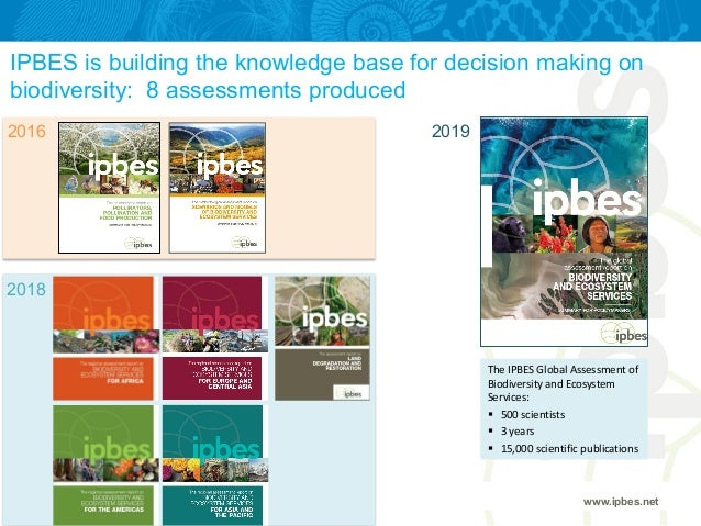 IPBES is building the knowledge base for decision making on biodiversity: 8 assessments produced www.ipbes.net 2016 2018 2...