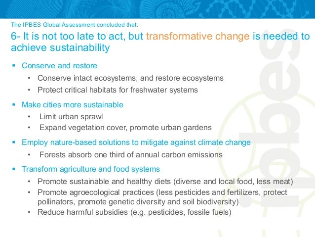 The IPBES Global Assessment concluded that: 6- It is not too late to act, but transformative change is needed to achieve s...
