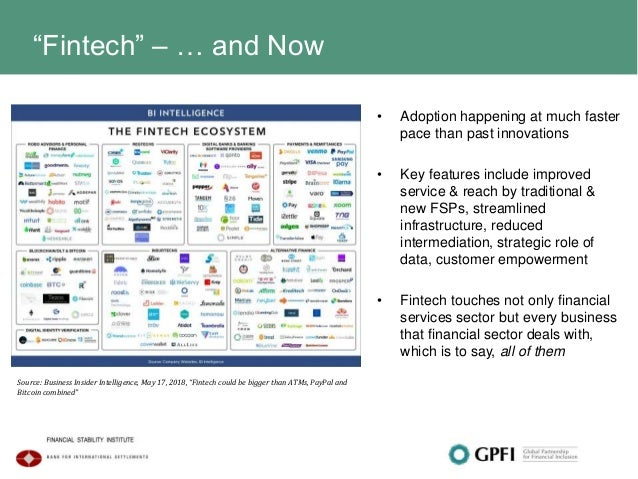 """""""Fintech"""" – … and Now • Adoption happening at much faster pace than past innovations • Key features include improved servi..."""