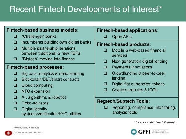 "Recent Fintech Developments of Interest* Fintech-based business models:  ""Challenger"" banks  Incumbents building own dig..."