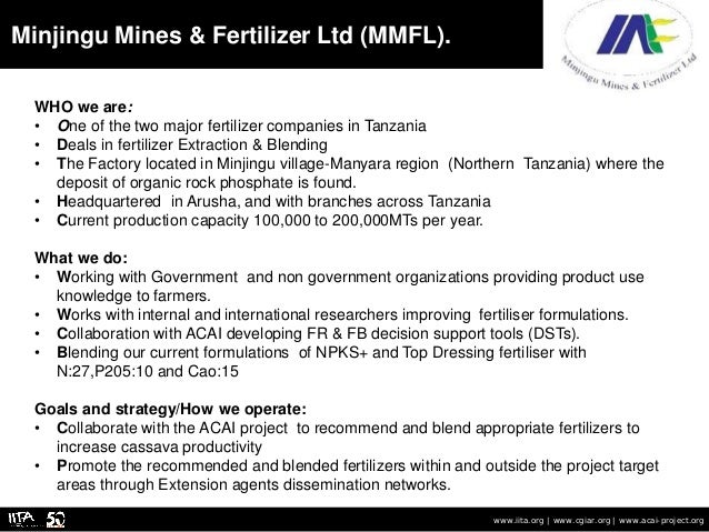 The primary partners in Tanzania: Summary of objectives