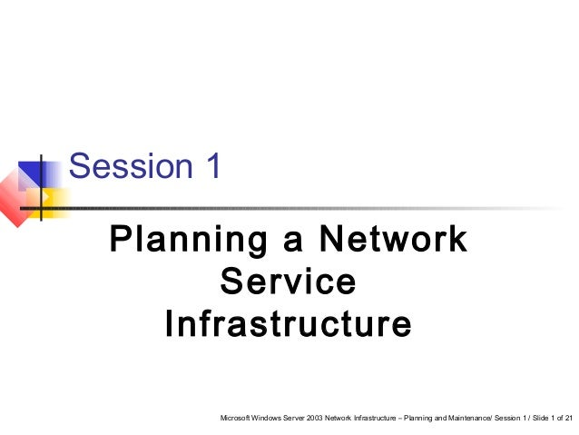 Microsoft Windows Server 2003 Network Infrastructure – Planning and Maintenance/ Session 1 / Slide 1 of 21 Session 1 Plann...