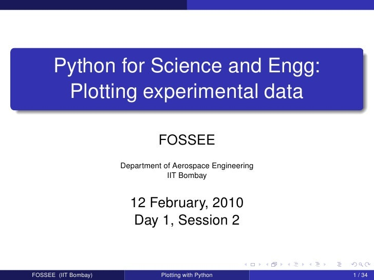 Python for Science and Engg:        Plotting experimental data                                  FOSSEE                    ...