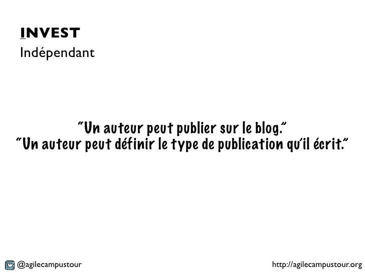 """INVESTIndépendant         """"Un auteur peut publier sur le blog.""""""""Un auteur peut définir le type de publication qu'il écrit...."""