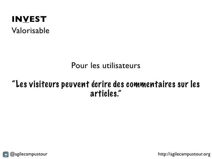 """INVESTValorisable                   Pour les utilisateurs""""Les visiteurs peuvent écrire des commentaires sur les           ..."""