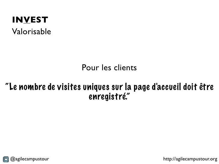 """INVEST Valorisable                      Pour les clients""""Le nombre de visites uniques sur la page daccueil doit être      ..."""
