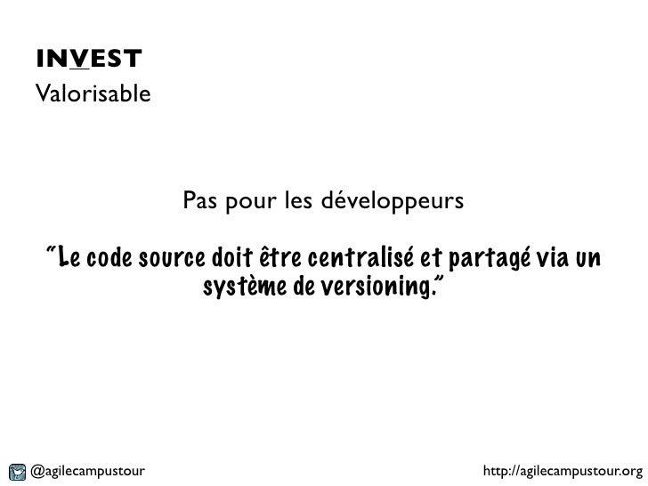 """INVESTValorisable                   Pas pour les développeurs  """"Le code source doit être centralisé et partagé via un     ..."""