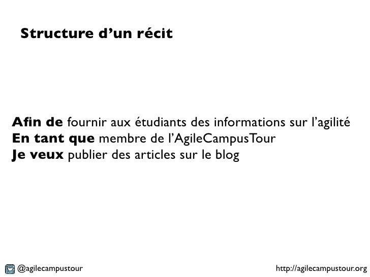 Structure d'un récitAfin de fournir aux étudiants des informations sur l'agilitéEn tant que membre de l'AgileCampusTourJe v...