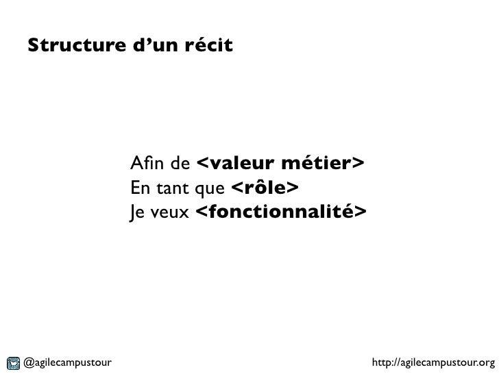 Structure d'un récit                   Afin de <valeur métier>                   En tant que <rôle>                   Je ve...