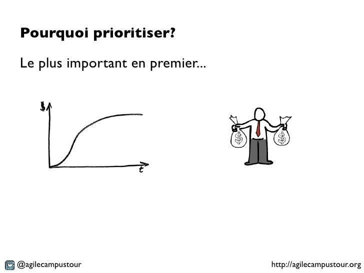 Pourquoi prioritiser?Le plus important en premier...@agilecampustour                  http://agilecampustour.org