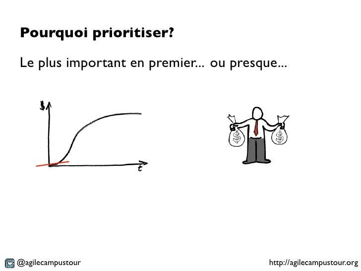 Pourquoi prioritiser?Le plus important en premier... ou presque...@agilecampustour                         http://agilecam...
