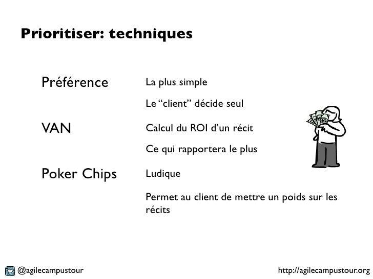 """Prioritiser: techniques     Préférence    La plus simple                   Le """"client"""" décide seul     VAN           Calcu..."""