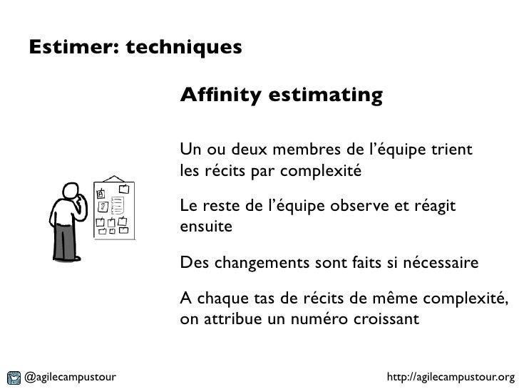 Estimer: techniques                   Affinity estimating                   Un ou deux membres de l'équipe trient          ...