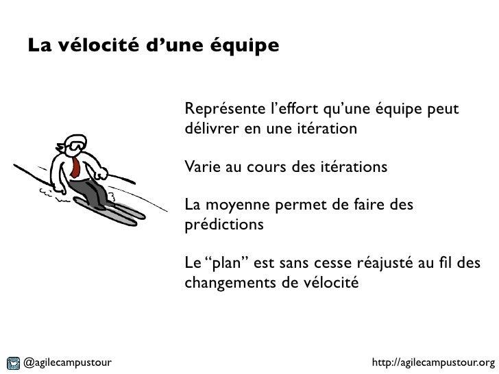 La vélocité d'une équipe                   Représente l'effort qu'une équipe peut                   délivrer en une itérat...