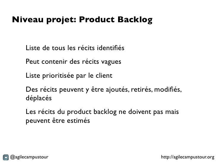 Niveau projet: Product Backlog      Liste de tous les récits identifiés      Peut contenir des récits vagues      Liste pri...