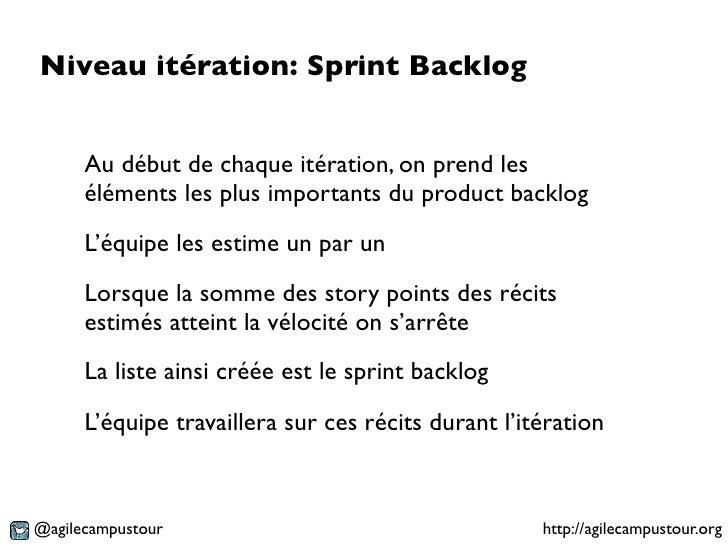 Niveau itération: Sprint Backlog      Au début de chaque itération, on prend les      éléments les plus importants du prod...