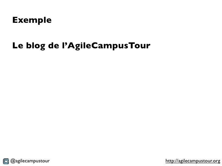 ExempleLe blog de l'AgileCampusTour@agilecampustour               http://agilecampustour.org