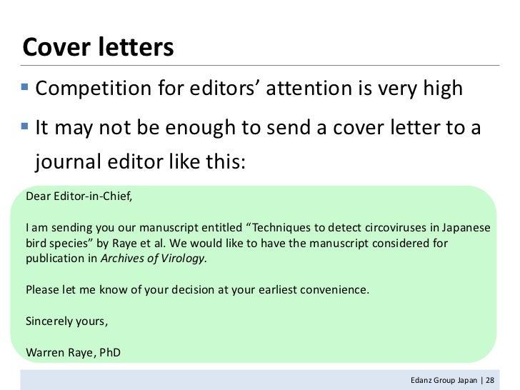 cover letter to editor scientific journal