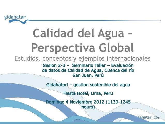 Calidad del Agua –     Perspectiva GlobalEstudios, conceptos y ejemplos internacionales         Sesion 2-3 – Seminario Tal...