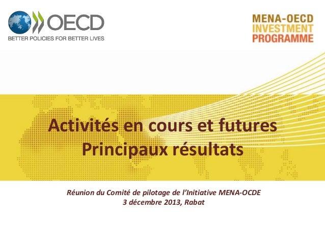 Activités en cours et futures Principaux résultats Réunion du Comité de pilotage de l'Initiative MENA-OCDE 3 décembre 2013...