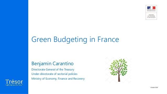 Green Budgeting in France October 2020 Benjamin Carantino Directorate General of the Treasury Under-directorate of sectori...