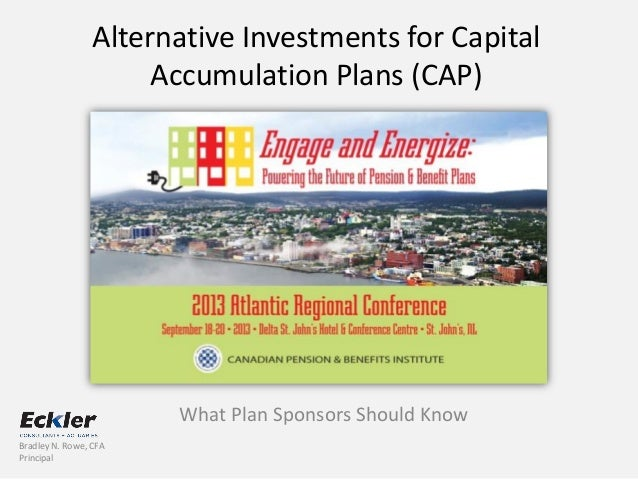 Alternative Investments for Capital Accumulation Plans (CAP) What Plan Sponsors Should Know Bradley N. Rowe, CFA Principal