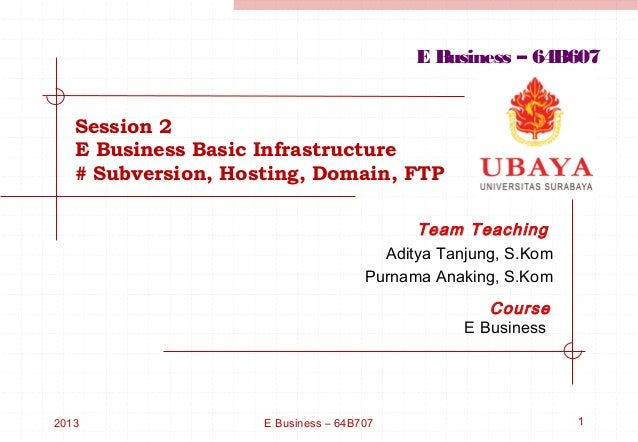 E Business – 64B607   Session 2   E Business Basic Infrastructure   # Subversion, Hosting, Domain, FTP                    ...