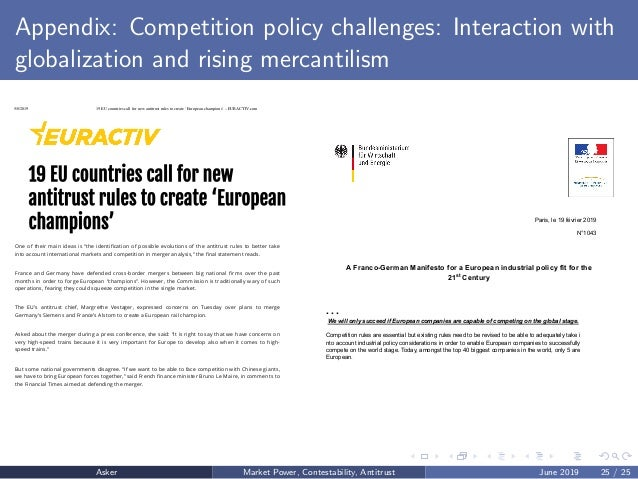 Appendix: Competition policy challenges: Interaction with globalization and rising mercantilism 5/8/2019 19 EU countries c...