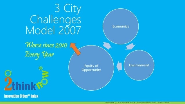 Innovation Cities™ Index Innovation Cities™ Index 3 City Challenges Model 2007 COPYRIGHT (c) 2019 2THINKNOW®. ALL RIGHTS R...