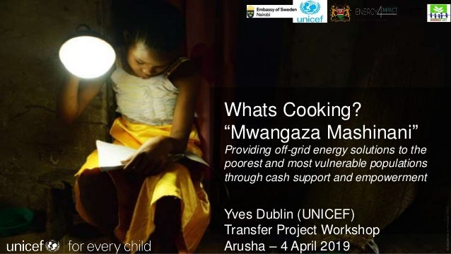 """©UNICEFCOUNTRY/NAME/YEAR Whats Cooking? """"Mwangaza Mashinani"""" Providing off-grid energy solutions to the poorest and most v..."""