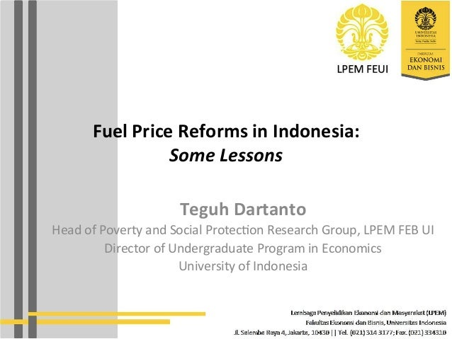 Fuel Price Reforms in Indonesia: Some Lessons