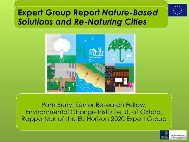 Pam Berry, Senior Research Fellow, Environmental Change Institute, U. of Oxford; Rapporteur of the EU Horizon 2020 Expert ...
