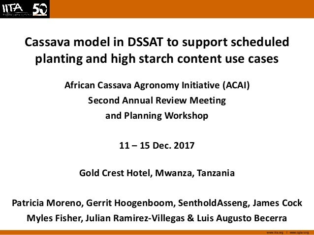 Cassava model in DSSAT to support scheduled planting and