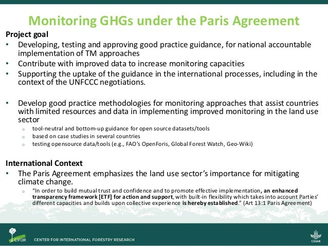 Transparent monitoring in practice: Supporting post-Paris land use sector mitigation (TransMoni) Slide 2