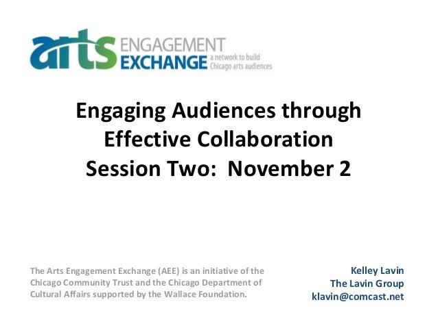 Engaging Audiences through Effective Collaboration Session Two: November 2 Kelley Lavin The Lavin Group klavin@comcast.net...