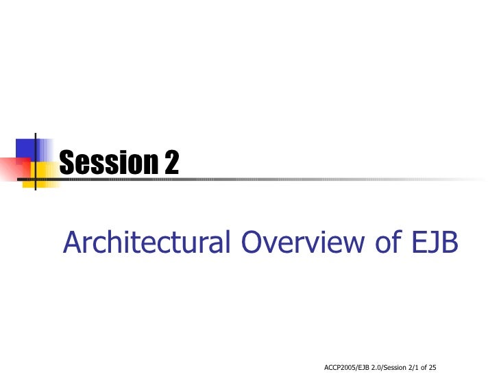 Architectural Overview of EJB Session 2