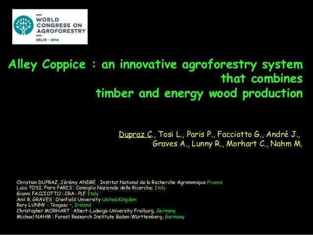 Alley Coppice : an innovative agroforestry system that combines timber and energy wood production Dupraz C., Tosi L., Pari...