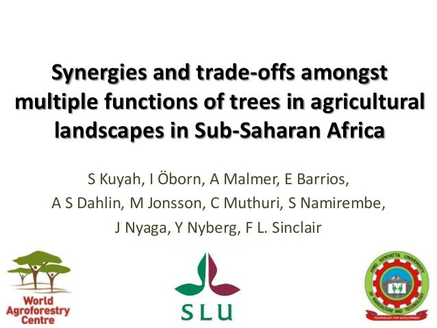 Synergies and trade-offs amongst multiple functions of trees in agricultural landscapes in Sub-Saharan Africa S Kuyah, I Ö...