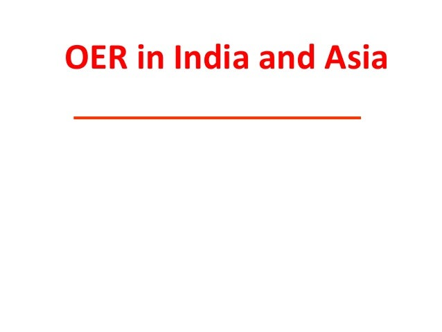 OER in India and Asia