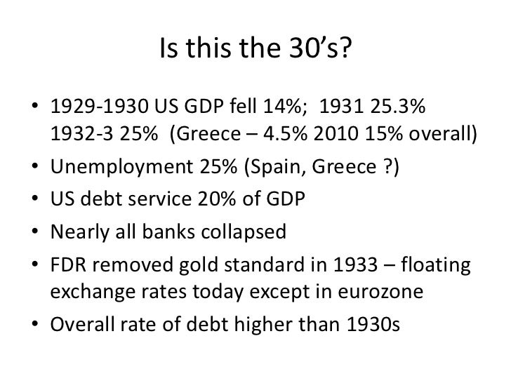 Is this the 30's?• 1929-1930 US GDP fell 14%; 1931 25.3%  1932-3 25% (Greece – 4.5% 2010 15% overall)• Unemployment 25% (S...