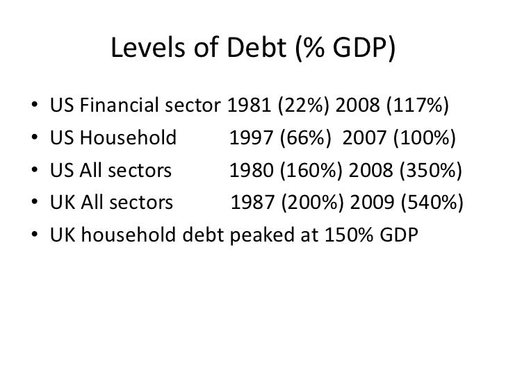 Levels of Debt (% GDP)•   US Financial sector 1981 (22%) 2008 (117%)•   US Household        1997 (66%) 2007 (100%)•   US A...